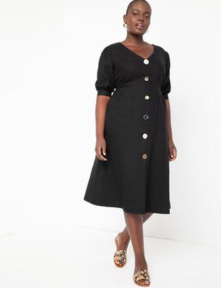 ELOQUII Button Front A-Line Dress