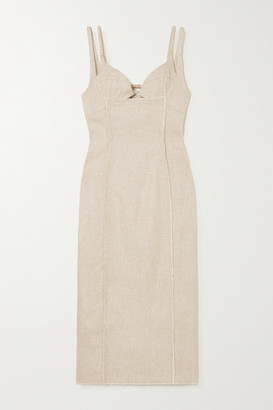Jacquemus Valerie Cutout Canvas Midi Dress - Beige
