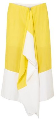 Marques Almeida Marques' Almeida Draped Two-tone Crepe De Chine Midi Skirt