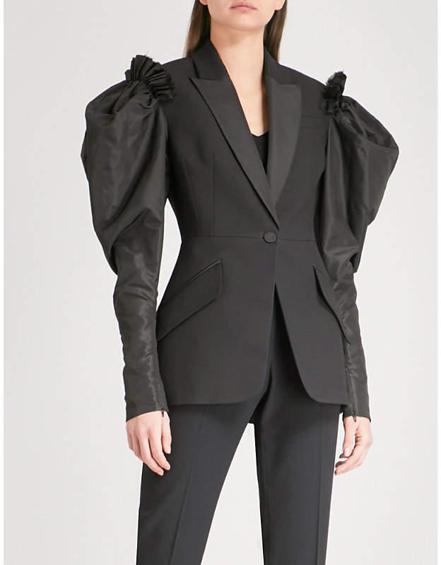 Alexander McQueen Puff-sleeve wool-blend jacket