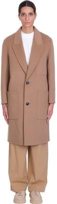 Ami Alexandre Mattiussi Coat In Beige Wool