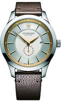 Victorinox 241767 Alliance Date Leather Strap Watch, Brown/silver