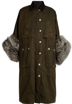 Miu Miu Fur-cuff waxed-cotton coat