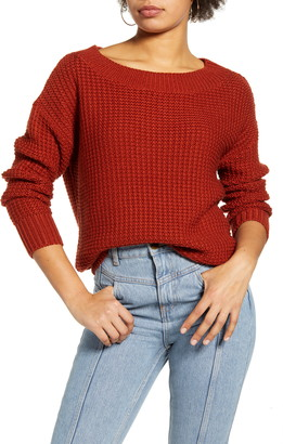 Leith Shaker Stitch Ballet Neck Sweater