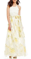 Eliza J Lace Bodice Yellow Floral Ball Gown
