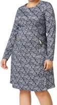 Michael Kors Womens Plus Paisley Zipper Detail Wear to Work Dress
