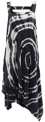 Loewe Paula's Ibiza - Asymmetric Tie-dye Silk And Cotton-blend Dress - Black White