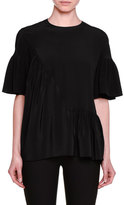Stella McCartney Short-Sleeve Gathered-Ruffle Top, Jazzberry