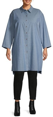 Lafayette 148 New York Plus Long-Sleeve High-Low Cotton Tunic