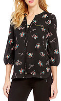 Takara Lace-Up V-Neckline High-Low Hem Floral Print Blouse