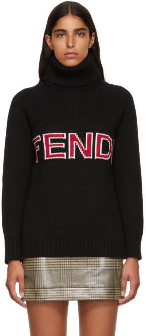 Fendi Black Wool Logo Turtleneck