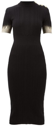 Balmain Metallic-sleeve Knitted Midi Dress - Womens - Black