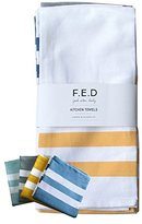 Kitchen Dish Towel by F.E.D, Extra Large Tea Towel in 4 colours, 100% Professional Cotton, Machine Washable Fabric (Set / Pack of 4)