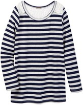 Poof Striped Crew Neck Top with Lace Shoulder & Back Detail (Big Girls)