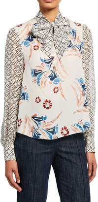 Joie Kanela Printed Silk Long-Sleeve Blouse