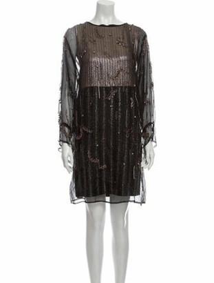 Dries Van Noten Bateau Neckline Mini Dress Black