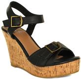 Fashion Focus Black Super Double-Buckle Wedge Sandal
