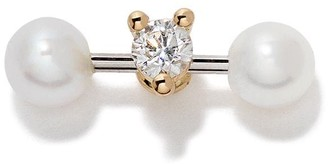 Delfina Delettrez 18kt yellow and white Two In One diamond and pearl stud