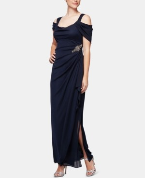 Alex Evenings Petite Embellished Cold-Shoulder Gown