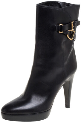 Ralph Lauren Collection Black Leather Ankle Boots Size 41