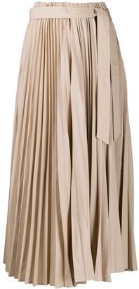 Brunello Cucinelli Pleated Tie-Waist Midi Skirt
