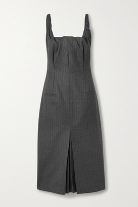 Commission Ruched Pinstriped Wool-blend Midi Dress - Gray