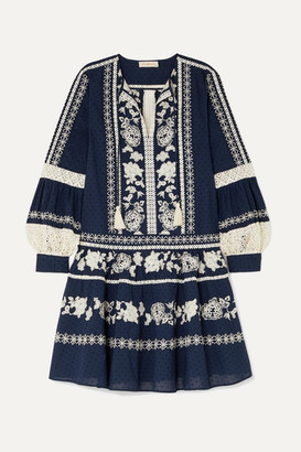 Tory Burch Boho Crochet-trimmed Embroidered Swiss-dot Cotton Mini Dress - Navy