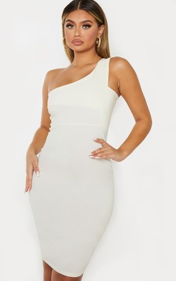 Ooh! La Oohla Cream Woven Stretch One Shoulder Midi Dress