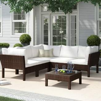 Birch Lane Birch LaneTM Heritage 6 Piece Rattan Sectional Seating Group with Cushions Heritage