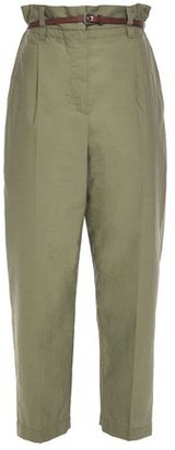 Brunello Cucinelli Belted Crinkled Cotton-blend Tapered Pants