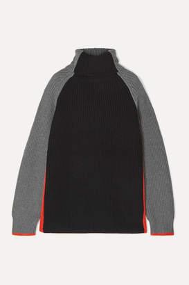 Victoria Victoria Beckham Victoria, Victoria Beckham - Oversized Color-block Wool Turtleneck Sweater - Gray