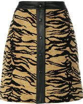 ADAM by Adam Lippes tiger print skirt - women - Silk/Cotton/Lamb Skin/Acrylic - 0