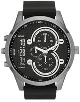 Mossimo Men's Oversized Five Link Bracelet Watch in Black with Decorative Subdials - Black