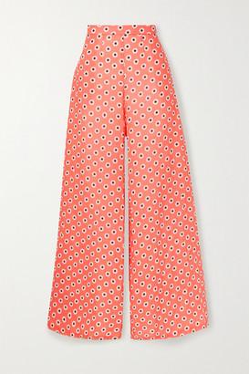 Miguelina Pamela Floral-print Linen Wide-leg Pants - Coral