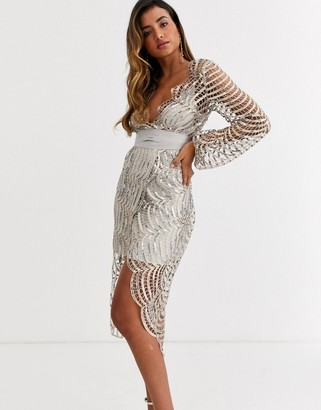 ASOS DESIGN midi dress with blouson sleeve and tie in embellished lace