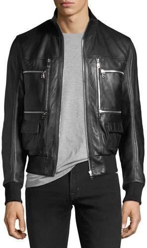 Dolce & Gabbana Leather Bomber Jacket with Zipper Pockets
