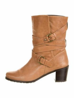 Stuart Weitzman Leather Moto Boots Brown