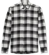 Saint Laurent Distressed Checked Cotton-flannel Shirt - Black