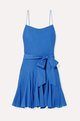 Alice + Olivia Alice Olivia - Webber Belted Cotton-voile Mini Dress - Blue