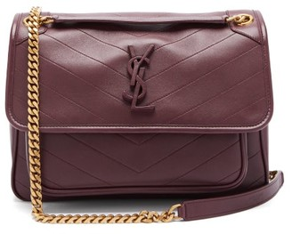 Saint Laurent Niki Chevron-quilted Leather Shoulder Bag - Burgundy