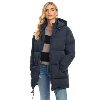 Fluid Womens Long Padded Zip Through Jacket Midnight Blue
