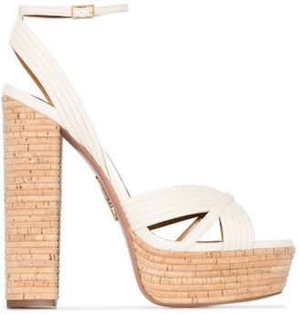 Aquazzura So Nude 85mm platform sandals