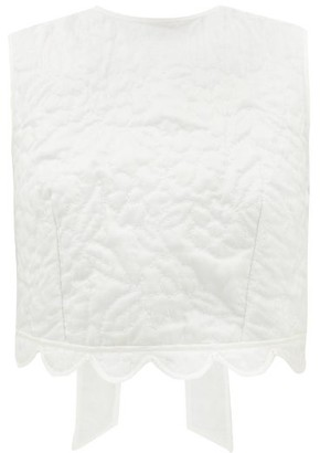 Cecilie Bahnsen Emilie Tie-back Floral Quilted-silk Top - White