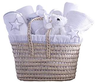 Clair De Lune Silver Lining Moses Basket Baby Gift Set, White