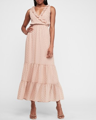 Express Metallic Clip Dot Ruffle Maxi Dress