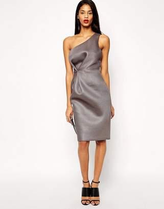 Asos Design Premium One Shoulder Mesh Pencil Dress-Grey