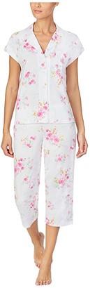Lauren Ralph Lauren Petite Classic Knits Short Sleeve Dolman Notch Collar Capri Pants Pajama (Pink Floral) Women's Pajama Sets