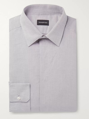 Ermenegildo Zegna Light-Grey Slim-Fit Linen And Cotton-Blend Shirt