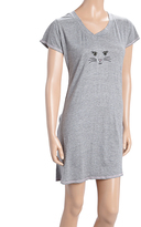 Rene Rofe Gray Cat Face V-Neck Sleep Lounge Dress