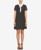 CeCe Tie-Neck Dot-Print Shift Dress